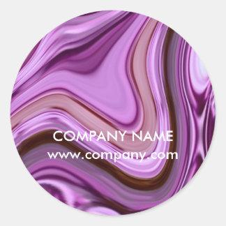 chic abstract Metallic Purple Swirls beauty salon Classic Round Sticker