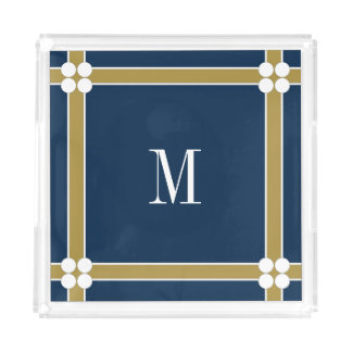 CHIC ACRYLIC TRAY_GOLD/NAVY/WHITE WTH MONOGRAM+ SERVING TRAY
