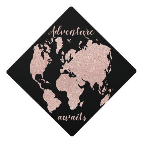 Chic adventure awaits rose gold glitter world map graduation cap topper