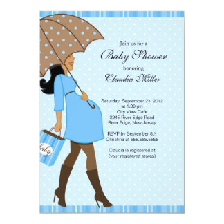 Chic African American Pregnant Mom Baby Shower 5x7 Paper Invitation Card