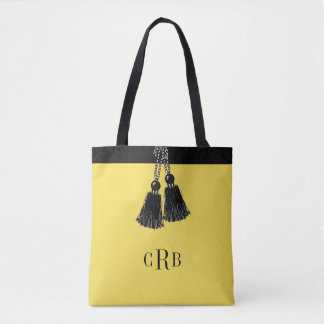 CHIC ALL OVER PRINT TOTE_BUTTER/BLACK TASSEL TOTE BAG