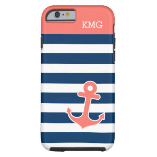 Chic Anchor Monograms in Trendy Coral Navy Strips iPhone 6 Case