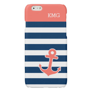 Chic Anchor Monograms in Trendy Coral Navy Strips Glossy iPhone 6 Case
