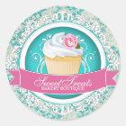 Chic and Elegant Cupcake Box Stickers