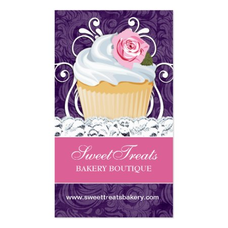 Purple and Pink Background Elegant Chic Modern Cupcake Business Cards
