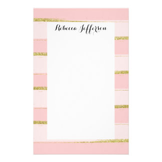 Chic and Elegant Gold Pink Stripes Stationery