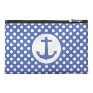 Chic and Elegant Polka Dot Pattern anchor on Teal Travel Accessory Bag
