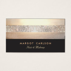 Chic And Elegant Sequin Gold Black Striped Business Card at Zazzle