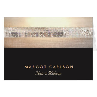 Chic and Elegant Sequin Gold Black Striped Card