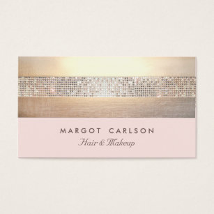 Aesthetician business cards templates zazzle chic and elegant sequin gold light pink striped business card reheart Images