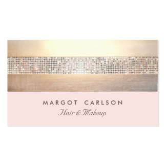 Chic and Elegant Sequin Gold Light Pink Striped Double-Sided Standard Business Cards (Pack Of 100)