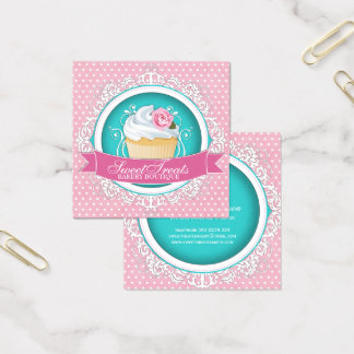 Chic and Elegant Square Cupcake Business Cards