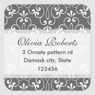 Chic and fashionable stylish ornate damask address square sticker