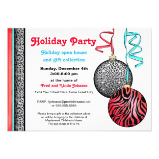 Chic and Hip Animal Print Holiday Ornaments 2 Invitations