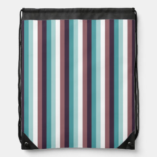 Chic And Modern Blue Brown White Stripes Pattern Backpacks