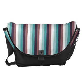 Chic And Modern Blue Brown White Stripes Pattern Courier Bag