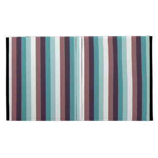 Chic And Modern Blue Brown White Stripes Pattern iPad Folio Covers