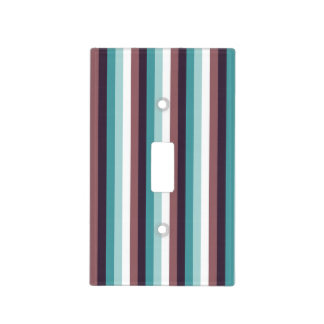 Chic And Modern Blue Brown White Stripes Pattern Switch Plate Cover