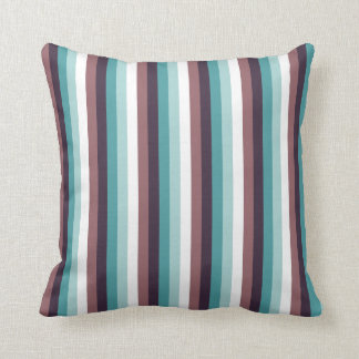 Chic And Modern Blue Brown White Stripes Pattern Throw Pillow