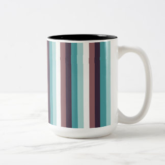 Chic And Modern Blue Brown White Stripes Pattern Two-Tone Coffee Mug