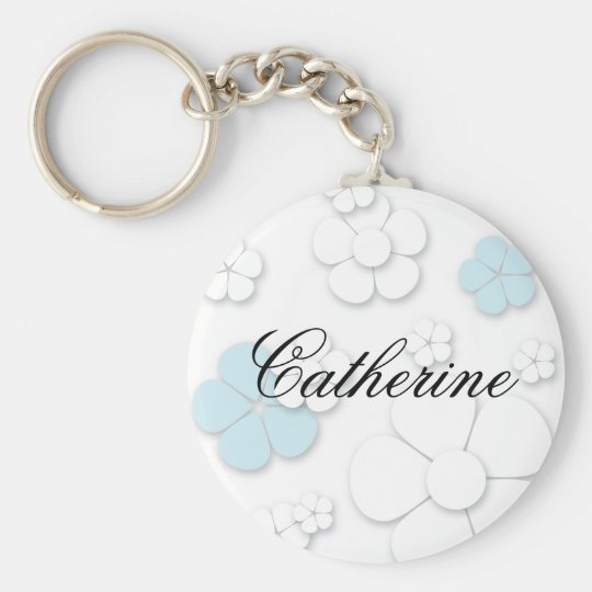 Chic and Simple Flowers: Blue Keychain