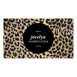 Chic and Stylish Gold Leopard Print Business Cards