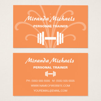 Chic and Stylish Orange Personal Fitness Trainer Business Card