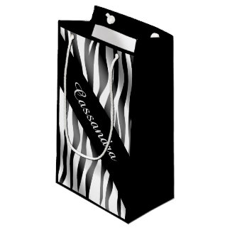 Chic and stylish zebra stripes to personalize small gift bag