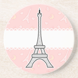 Chic and trendy girly Paris Eiffel tower Sandstone Coaster