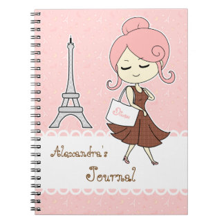 Chic and trendy Paris Eiffel tower Girly girl Note Book