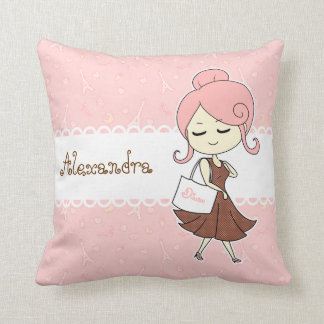 Chic and trendy Paris Eiffel tower Girly girl Pillow