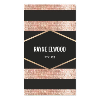 Chic and Trendy Striped Black and Copper Sequins Business Card