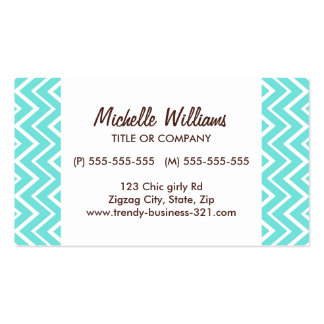 Chic and trendy whimsical aqua chevron pattern business cards