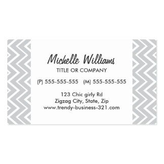 Chic and trendy whimsical gray chevron pattern business card template