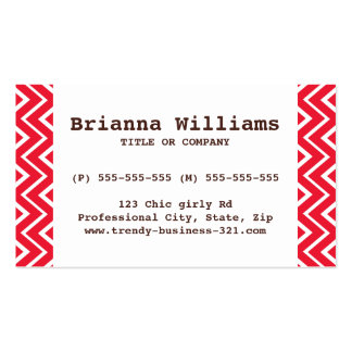 Chic and trendy whimsical red chevron pattern business card templates