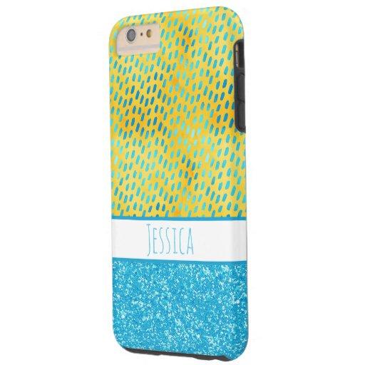 Chic Animal Print Cheetah Blue Glitter Name Tough iPhone 6 Plus Case