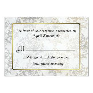 Chic Antique Damask Wedding RSVP Card