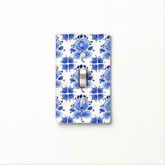 Chic Antique Dutch Delft Blue Flowers Pattern Light Switch Plate