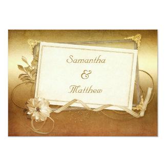 Chic Antique Gold Vintage Frame Wedding Card