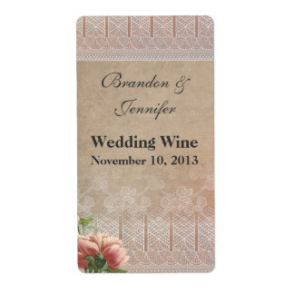 Chic Antique Look Wedding Mini Wine Labels