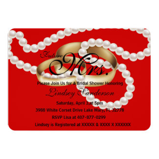 Chic Apple Red Rings With Pearls Bridal Invite