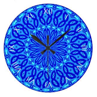 Chic Aqua and Blue Kaleidoscope Glow Mandala Large Clock