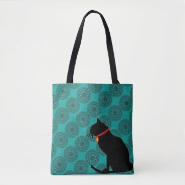 Beach Themed Chic aqua black cat bag for beach or shopping