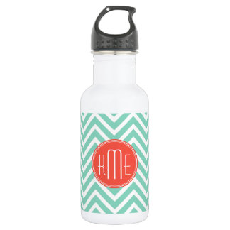 Chic Aqua Green Chevron and Orange Custom Monogram 18oz Water Bottle
