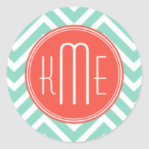 Chic Aqua Green Chevron and Orange Custom Monogram Classic Round Sticker