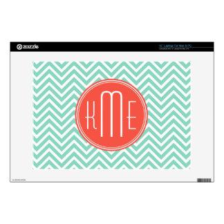 "Chic Aqua Green Chevron and Orange Custom Monogram Decal For 13"" Laptop"