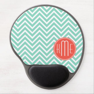 Chic Aqua Green Chevron and Orange Custom Monogram Gel Mouse Pad