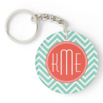 Chic Aqua Green Chevron and Orange Custom Monogram Keychain