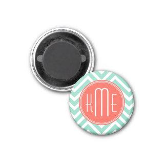 Chic Aqua Green Chevron and Orange Custom Monogram Magnet