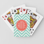 "Chic Aqua Green Chevron and Orange Custom Monogram Playing Cards<br><div class=""desc""></div>"